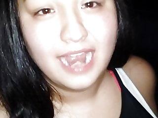 Very Cute asian teen swallow a big load