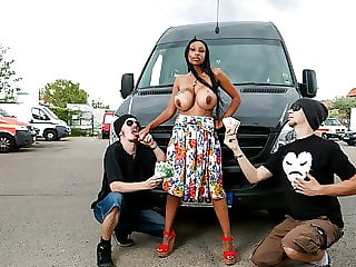 BUMS BUS - Interracial van sex with busty German babe