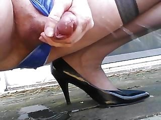 blue satin panty peeeeee