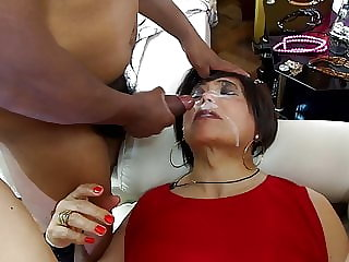 lady in red in anal gangbang with three mistress