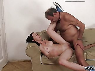 Old man caught drilling his son's girlfriend