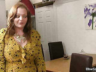 Big tits brunette takes his cock from behind