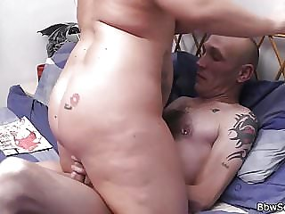 Husband caught cheating with blonde bbw