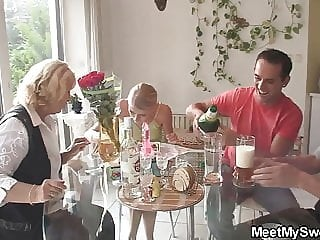 Old couple fuck teen while he rests