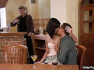 Cheating wife rides her hubby's friend cock