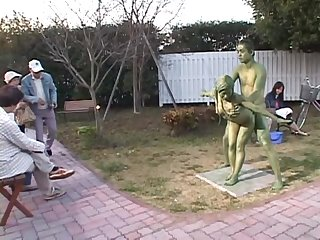 Cosplay Porn: Public Painted Statue Fuck part 2