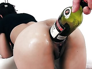 EXTREME BOTTLE PENETRATION IN ASS AND PUSSY. PROLAPSE CERVIX