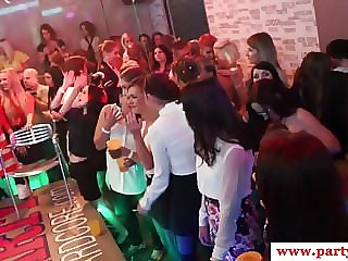 European party babes blowing strippers cock