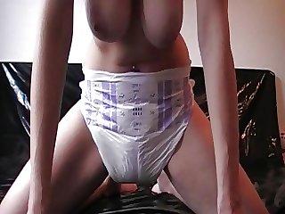 German babe wets diaper