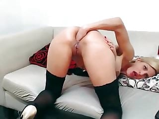 A blonde cam girl from San Francisco maturbating on webcam