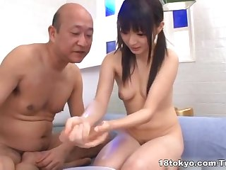 Konoha pretty young Asian girl showers with older man
