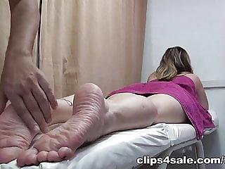 MILF footjob on massage