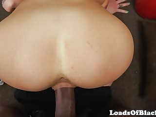 Inked casting beauty bouncing on black cock