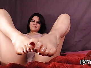 Oily Footjob From A Goth Chick POV CUMSHOTS FOOTJOB OIL LUBE