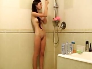 Russian legal age teenager girl taped in shower then in sofa