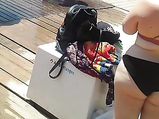 candid midget with FAT ass at beach