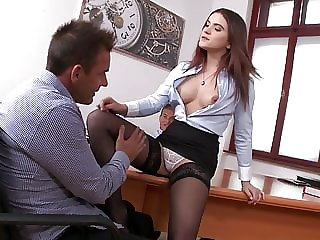 Secretary in stockings DP threesome