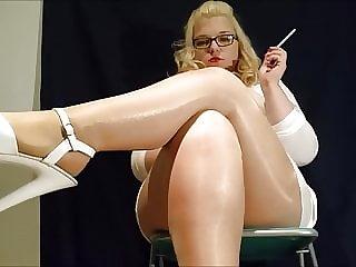Mariella Smoking in Pantyhose and Pleaser Heels