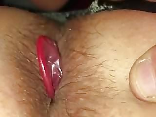 Wife pushes condom off in husbands ass