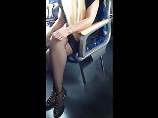 Nice legs in stockings in the train Beine I'm Zug