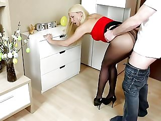 Blonde girl fucked in sexy pantyhose