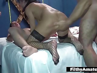 Squirting with the cock in the ass! Authentic whore