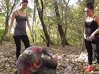 Update Mistress Ronja and Lady Lucy dominate slaves outdoor