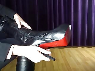 Show and stroke my sexy high heel leather overknee boots
