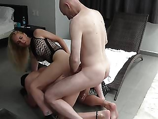 Threesome - two get fucked