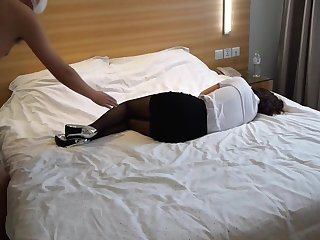 Beautiful chinese stocking girl in hotel room