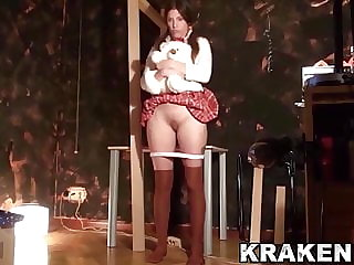 Submissive schoolgirl in homemade BDSM scene