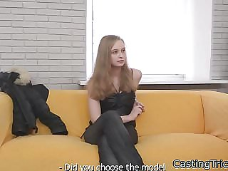 Dicksucking casting babe gets banged