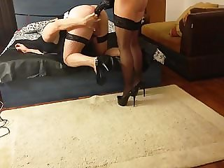 Mistress Antonella is fucking sissy with huge strapon!