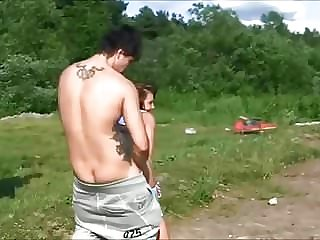 Sex of Russian students on a picnic by the river