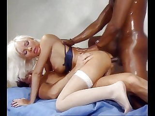 Beautiful Blond Anal Bitch takes Big Black Cock DP's