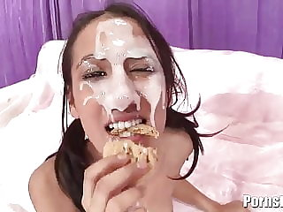 Amia Gets The Messiest Facials From Three Giant Cocks