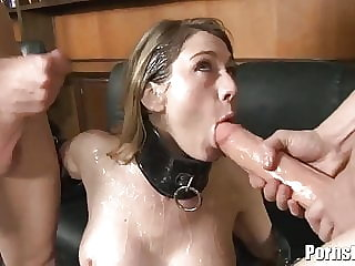Leather Clad Amber Ashley Gets A Face Full Of Hot Cum