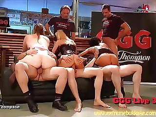 Hardcore group sex in a bar