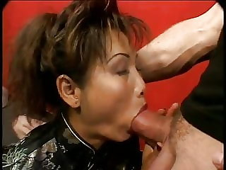 Mature Asian gets her ass fucked and gets a facial