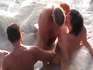 Cockold let fuck his wife at the beach by a stranger