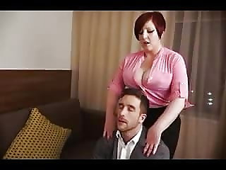 Huge titted chubby redhead fucked in pussy and ass