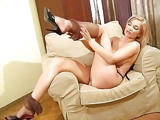 Busty blond FF stockings high heel mules