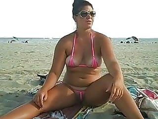 Crystal's Bikini Doesn't Cover Her Ass Or Pussy!