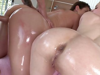 Nasty hoe with oiled butt  Samantha Ryan nailed in 3some