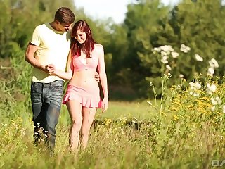 Fine and sexy redhead girlfriend outdoors with her boyfriend