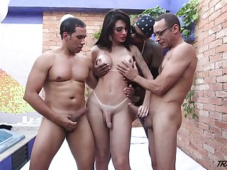 Horny ladyboy Grazie Cinturini gets her anus rammed by several well endowed studs