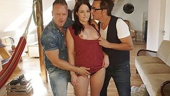 German girl picked up and fucked by two men
