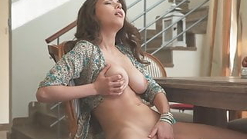 Cute Mila Azul squeezes her big tits while she masturbates