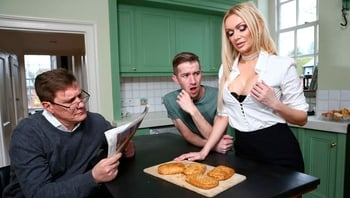 Cute blonde with small tits Amber Jayne fucked in the kitchen