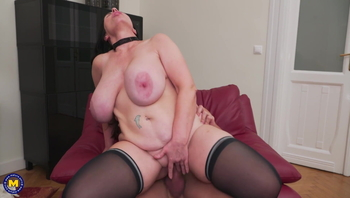 Posh mature mother on lucky son